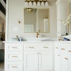 Contemporary White Master Bathroom With Marble And Gold Fixtures And Lighting