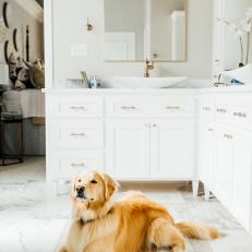 Contemporary White Master Bathroom With Marble And Gold Accents
