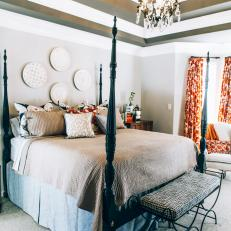 Contemporary Master Bedroom With Traditional Accents And Tray Ceiling With Chandelier