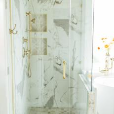 Contemporary Master Bathroom Glass Enclosed Shower With Marble And Gold Fixtures