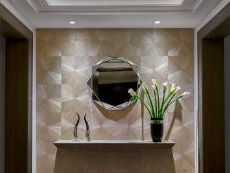 Modern Art Deco Inspired Foyer With Crystal Chandelier And Metallic Accents