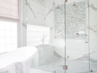 Contemporary White And Gray Master Bathroom With Glass Shower And Tub