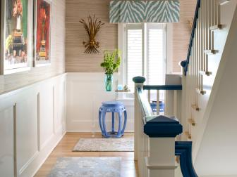 Multicolored Eclectic Hall With Blue Stool