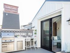Modern White Cottage Outdoor Kitchen Terrace With Mosaic Tile
