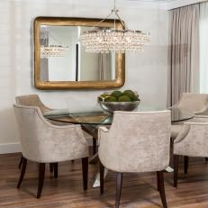 Neutral Dining Room With Velvet Chairs