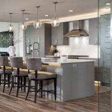 Gray Open Plan Kitchen with Wine Rack