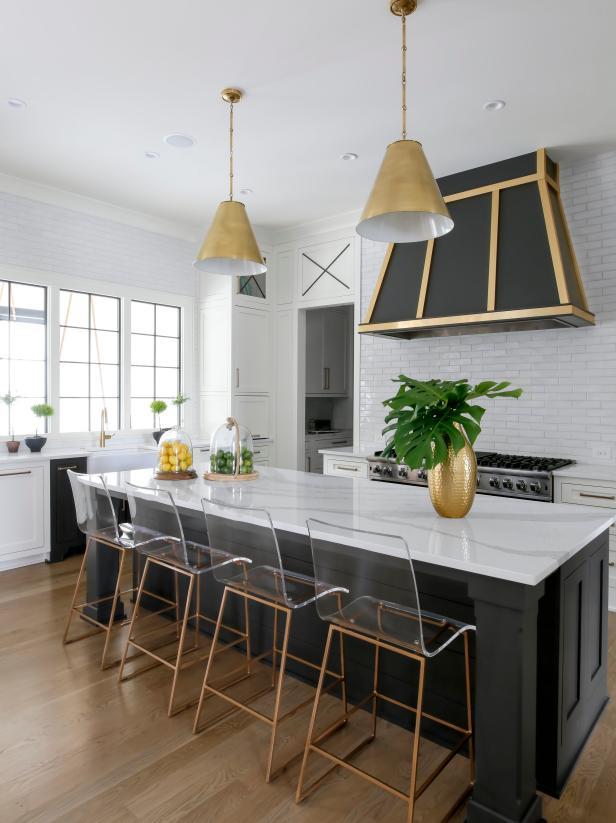 Dramatic Black Gold Contemporary Kitchen Hgtv Faces Of Design 2018 Hgtv