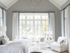 Traditional White Master Bedroom Retreat With Vaulted Ceiling