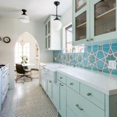 Eclectic Galley Kitchen With Mint Blue Cabinets