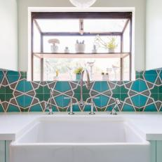 Farmhouse Sink With Spanish Tile Backsplash