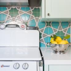 Blue-and-Green Backsplash Adds Spanish Style to Kitchen