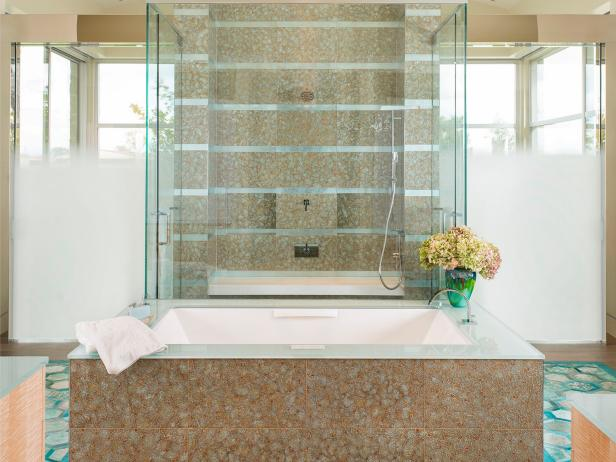 Neutral Spa Bathroom With Hydrangeas
