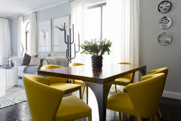 Open Concept Modern Living And Dining Room With Pops Of Yellow