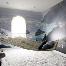 Modern Apartment Meditation Room With Hammock And Wall Mural