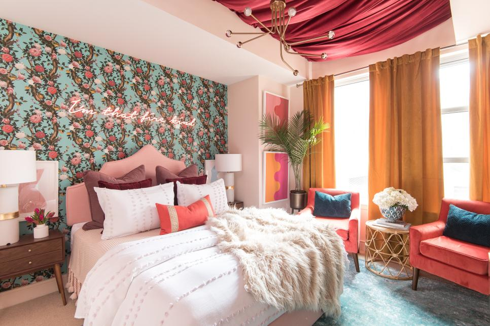 Feminine Apartment Bedroom with Upholstered Ceiling, Wallpaper and Pink Bed