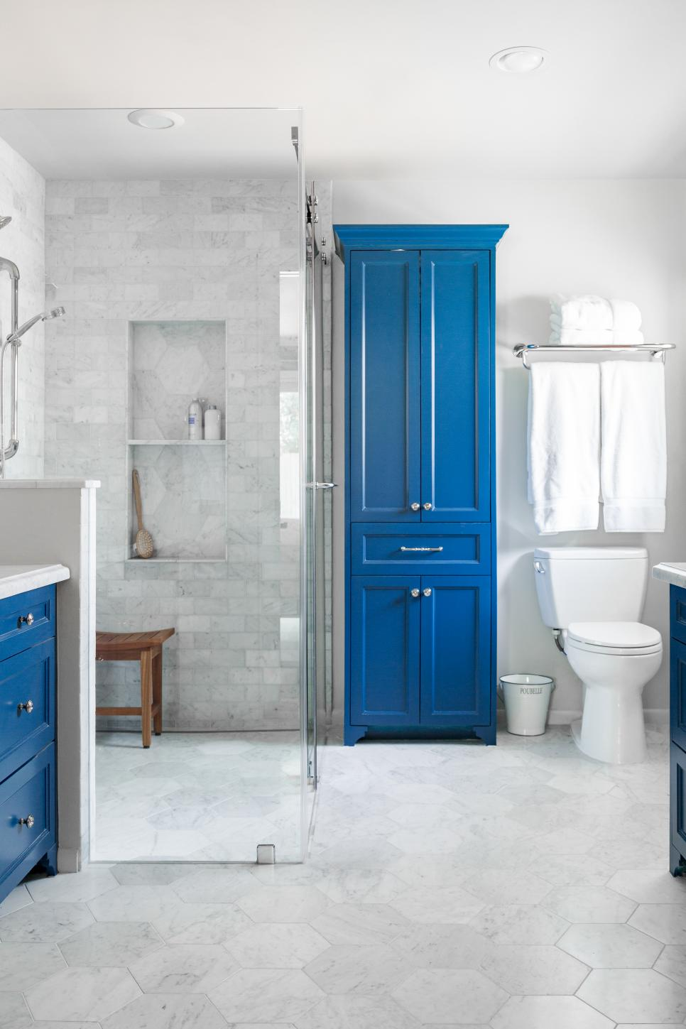 White and Blue Master Bathroom