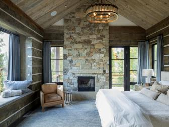 Rustic Bedroom Retreat with Fireplace, Window Seat