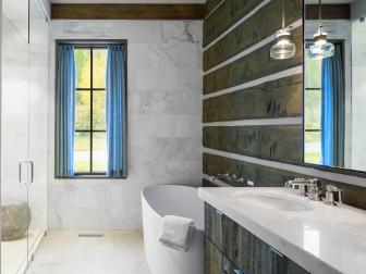 Rustic Modern Guest Bath with Freestanding Tub