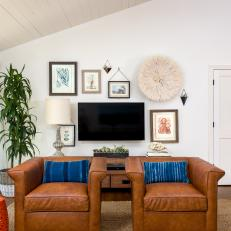 Beach Inspired Living Room Leather Seating