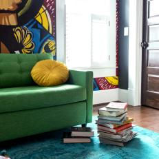 Graffiti Inspired Office with Green Sofa and Teal Rug