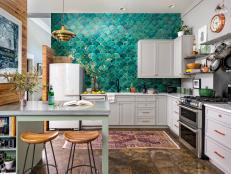 Urban Kitchen with Teal Wall Tile