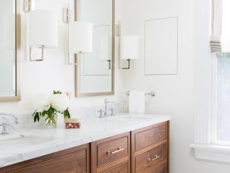 Modern White Double Vanity Bathroom With Marble Top, Wood, And Inlaid Flooring