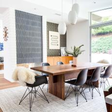 Midcentury Modern Dining Room With Sliding Doors