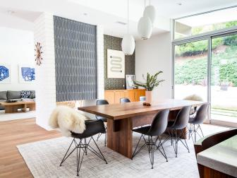 Midcentury Modern Dining Room With Sliding Doors