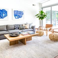 Contemporary Neutral Living Room With Blue Art