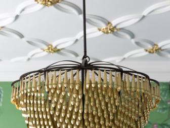 Gold Chandelier And White And Gold Plaster Ceiling Detail