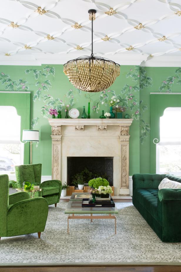 Eclectic Green Living Room With Wallpaper And Gold Accents.