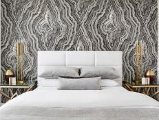 Black and White Modern Bedroom With Wallpaper