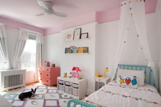 Pink Girl's Bedroom With Dog