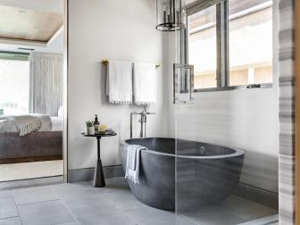 Spa Bathroom With Dark Gray Tub