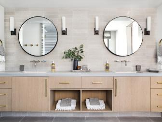 Double Vanity With Round Mirrors