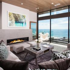 Contemporary Living Room With Upholstered Furnishings And Modern Gas Fireplace
