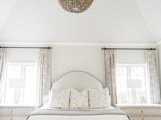 Neutral Transitional Master Bedroom With Vaulted Ceiling