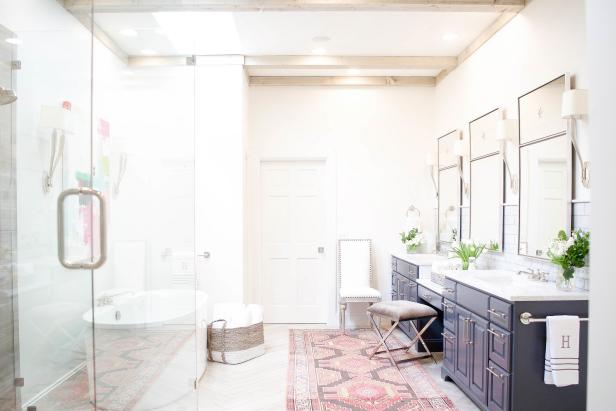 Master Bathroom With White Marble And Glass Shower