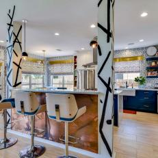 Eclectic Modern Kitchen With Copper Island And Blue Patterned Wall Tile