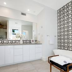Black and White Master Bathroom With Geometric Tiles
