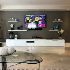 Gray Media Room With White Console