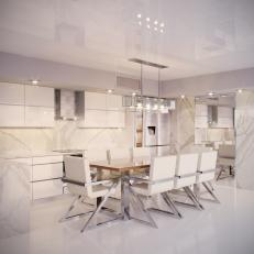 White Modern Open Plan Kitchen With Table