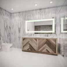 Marble Modern Bathroom With Rustic Vanity