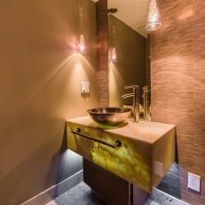Brown Powder Room With Cone Pendants