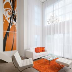 Orange and White Art Deco Living Area