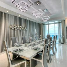 Striped Gray and White Art Deco Dining Room