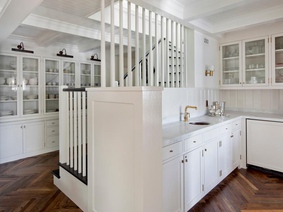 White Contemporary Kitchen Wet Bar