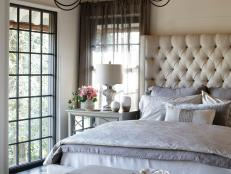 French Country Master Suite With Tufted Headboard