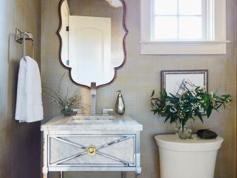 Classic Modern Powder Room Bath With Single Vanity