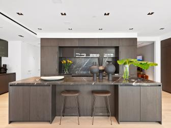 Large Brown Modern Kitchen Island With Eat-In Seating